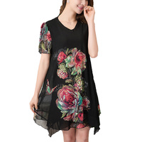 Casual 2016 Womens Summer Style Women Clothing Chiffon Dresses Vestido Black Maxi Dress Plus Size Vestidos