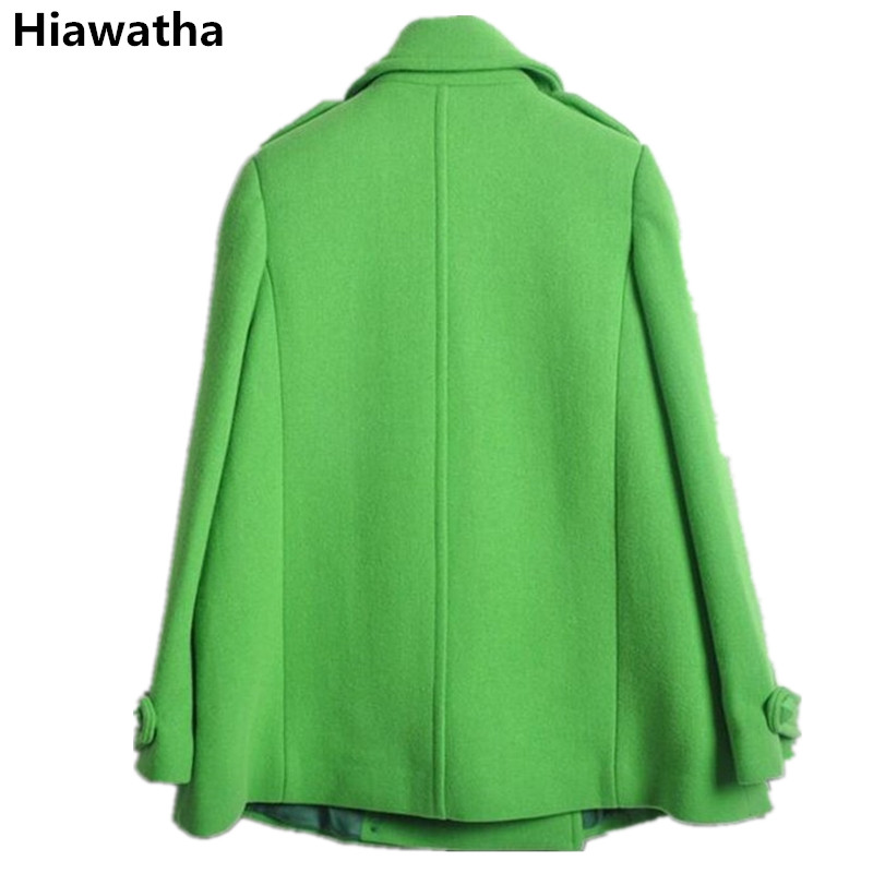 Hiawatha Verde Mujer Wl003 Abrigo De Giro Collar Breasted Las Lana Slim Invierno Abrigos Mujeres Moda Doble abajo rCpwrq