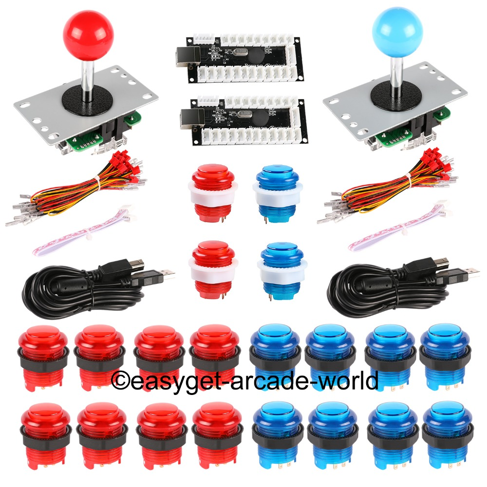 Arcade Joystick DIY Kit Zero Delay Arcade DIY Kit USB Encoder To PC Arcade Joystick + China SANWA Push Buttons for MAME & JAMMA