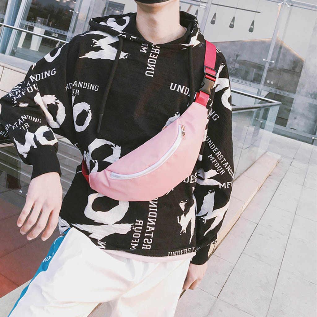 カップルの固体カラーファニーバッグウエストパックパックナイロン固体旅行原宿メッセンジャーショルダー胸バッグジッパーヒップベルトバッグ Pochete # S