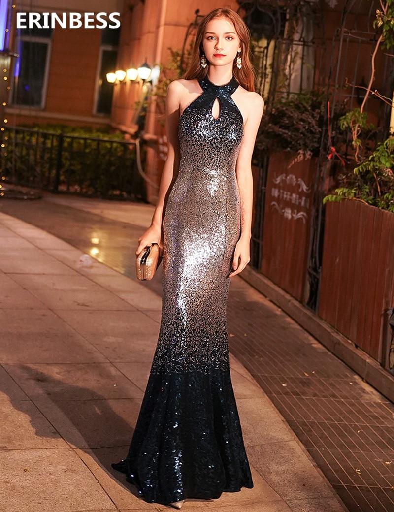 Vestidos De Festa Mermaid Evening Dress Elegant Robe De Soiree Sexy Halter Neck Sequin Mermaid Evening