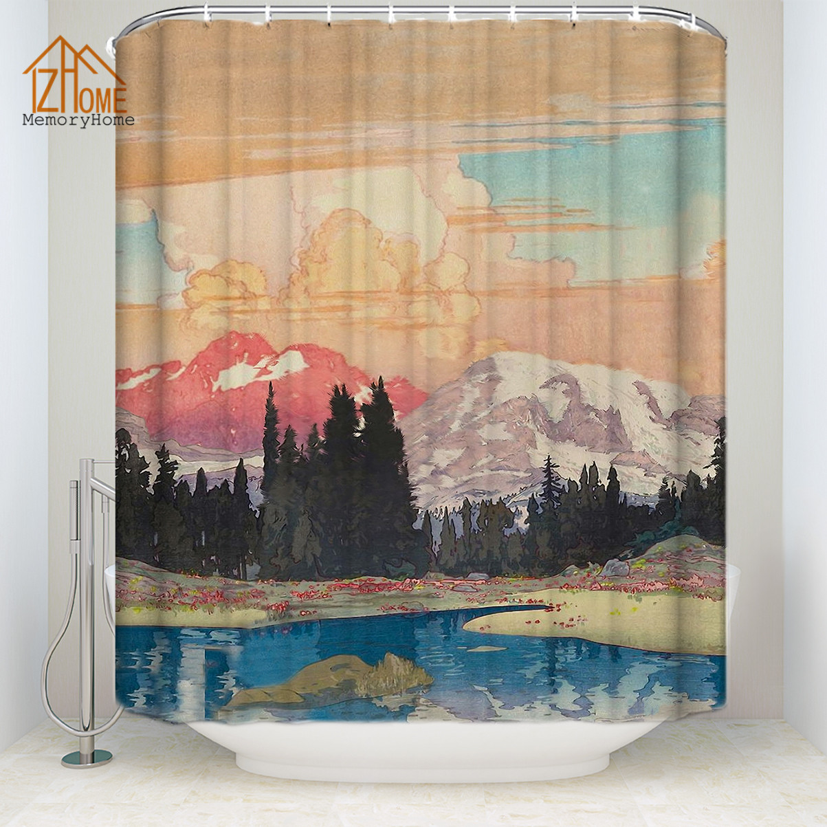 Fabric Shower Curtains Memory Home Japanese Style Print