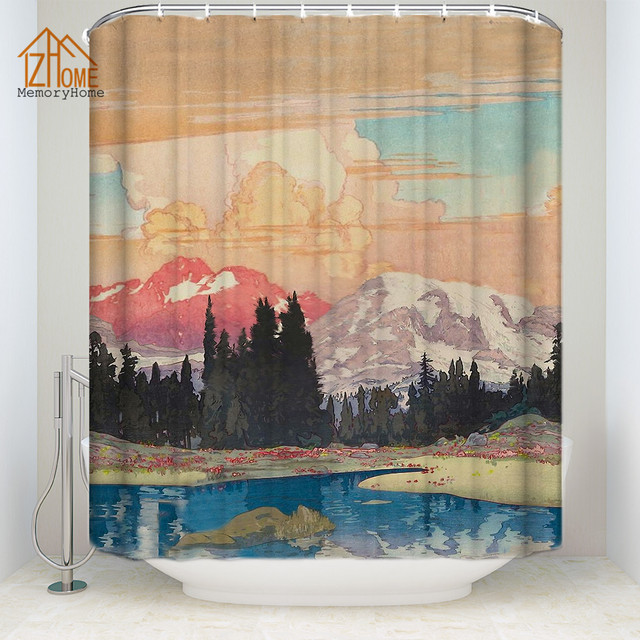 Memory Home Japanese Style Print Shower Curtain Multi Size Waterproof Polyester Fabric Bathroom Decor Free