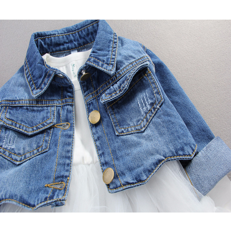 Image 4 - Fall infant Baby Girls clothes outfits casual sets denim jacket + tutu dress suit for newborn baby girls clothing birthday sets-in Clothing Sets from Mother & Kids