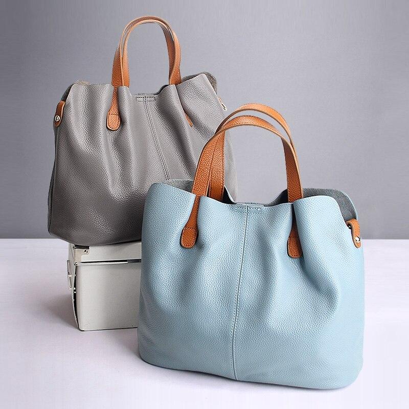 Натуральная кожаные сумочки из воловьей кожи личи зерна для женщин сумки Модные Портативный плеча сумки композитные