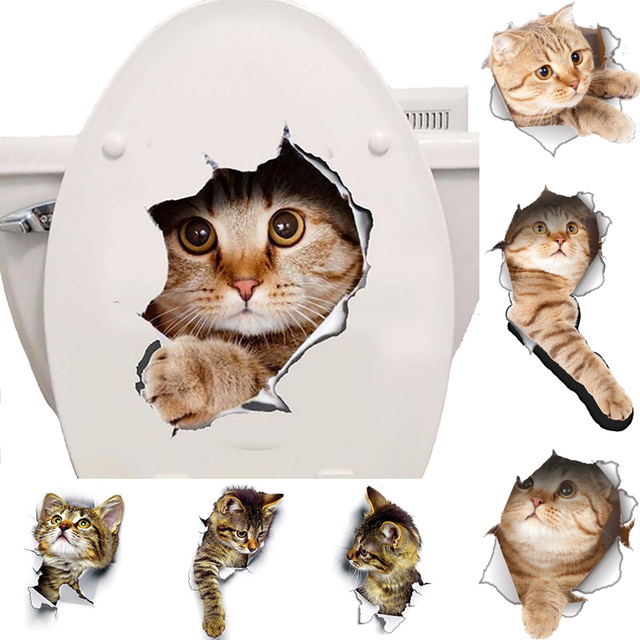 Cat Wall Sticker Toilet Seat
