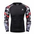 Homens camisas de compressão mma rashguard keep fit fitness mangas compridas camada de base skin levantamento de peso dos homens elásticos apertados camisetas