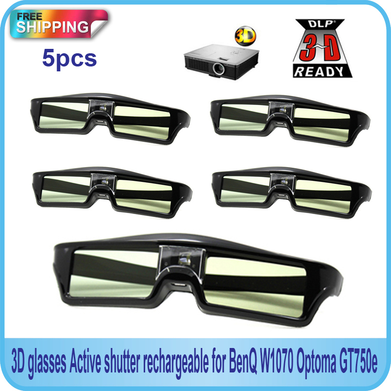 Free Shipping!!5PCS Active shutter 144Hz 3D <font><b>Glasses</b></font> For Acer/BenQ/Optoma/View Sonic/Dell <font><b>DLP-Link</b></font> Projector