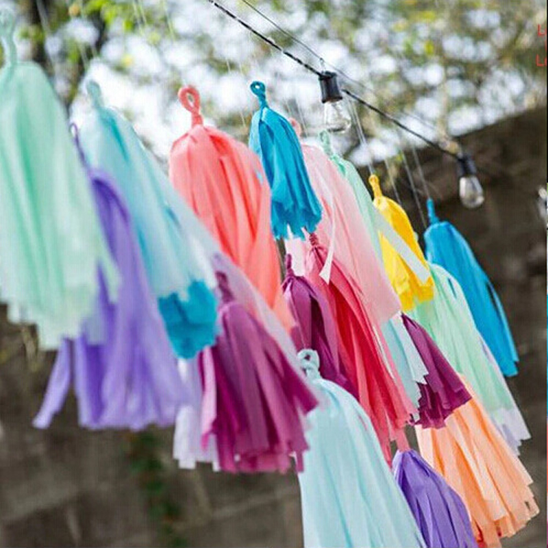25pcs/lot Colorful Tassel Tissue Paper Wedding Party Background Decorations Creative Birthday Festival Decoration Lahua Garland
