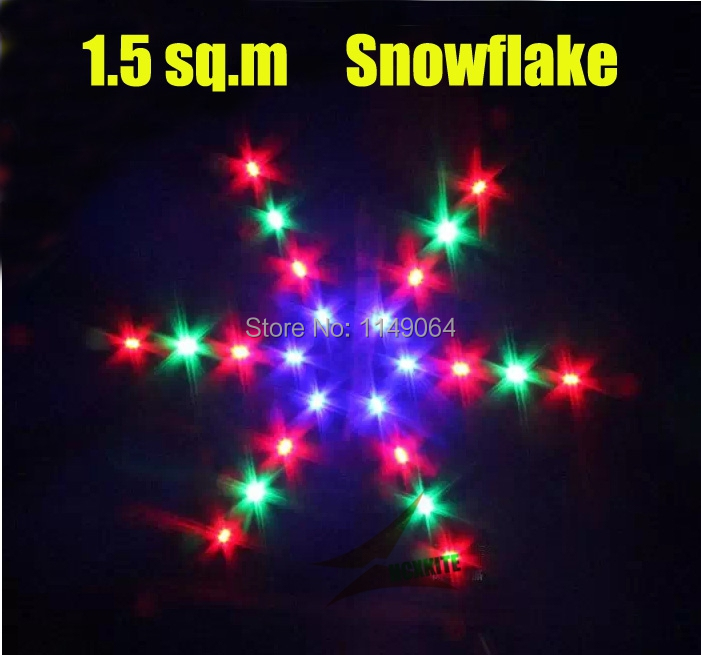 ФОТО free shipping high quality1.5 sq.m snowflake led kite with handle line so beautiful ripstop nylon fabric kite factory weifang