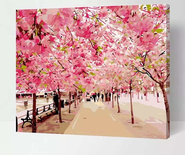 Buy frameless pictures painting by for Canvas painting of cherry blossoms