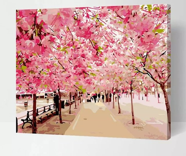 Frameless pictures painting by numbers cherry blossom flowers frameless pictures painting by numbers cherry blossom flowers digital oil painting on canvas landscape diy by mightylinksfo