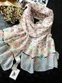 2015 para mujer moda otoño, flor de la bufanda del printe, Floral hijab, polka dot print, hijab musulmán, bufanda de la borla, chales y bufandas, desigual
