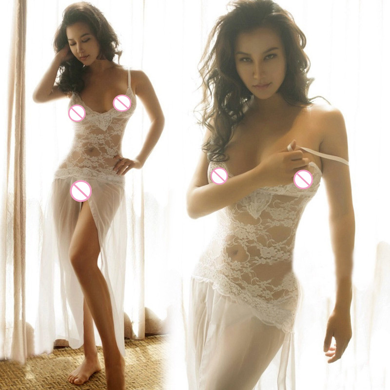 La MaxPa Sexy long dressing night gown sheer transparent Lace dress evening nightgown nightie sleepwear lingerie women k972