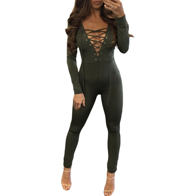 2017Deep V Neck Bodycon Jumpsuit Romper Autumn Fitness Long Sleeve Party Women Skinny Slim Sexy Jumpsuit Casual Fashion Overalls