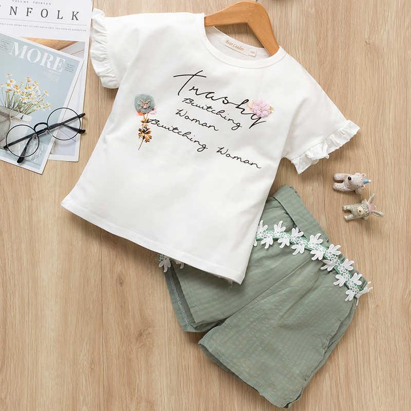 Комплекты для детей Летние Стильные Детские толстовки с цветами и рукавами-крылышками + штаны с ремнем, дизайнерские рождественские костюмы для маленьких девочек