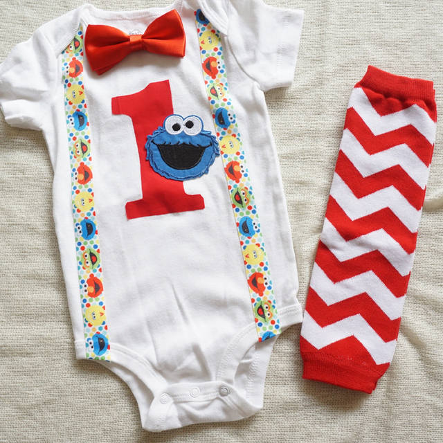 a26b733c122b 1st birthday boy clothes outfit first birthday party suspender shirt Cake  Smash Outfit Cookie Monster Bow Tie Romper