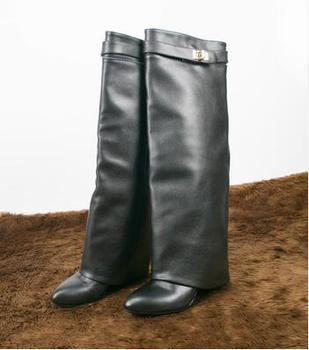 Wedge Shark Lock Women Knee High Boots Slip-on Fold Over Lady Motorcycle Boots Height Increasing Woman Leather Boots Size 42