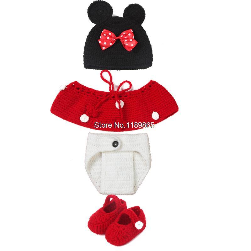 Lindo del ratón de Minnie de vestuario Crochet Baby Girl sombreros ...