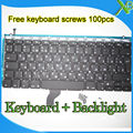 "Brand New For MacBook Pro Retina 13.3"" A1502 RU Russian keyboard+Backlight Backlit+100pcs keyboard screws 2013-2015 Years"