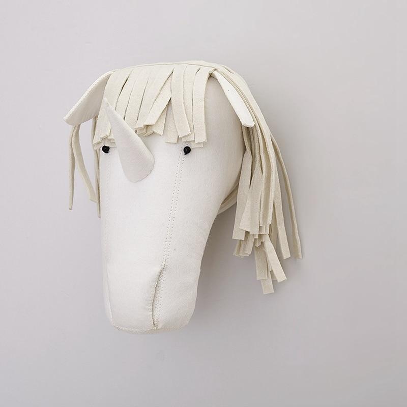 D 3D Animal Head Wool Felt Wall Hanging Decor Baby Room Kawaii Stuffed Unicorn horse Toys for Kids Boys Girls Christmas Gifts