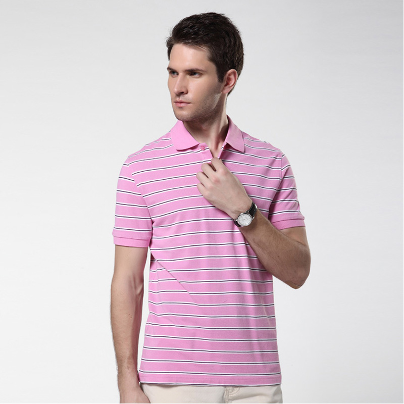 100% Cotton Pink Striped   Polo   Shirt for Men Cheap Short Sleeve Slim Fit Busniess Casual Mens Camisa   Polo   Clearance Size M L