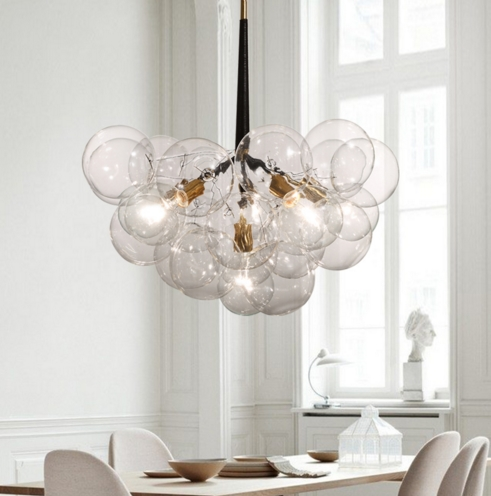 Nordic Modern Style Glass Ball Bubble Iron  Branch Pendant Light Living Room Restaurant Bedroom Hanging Lighting