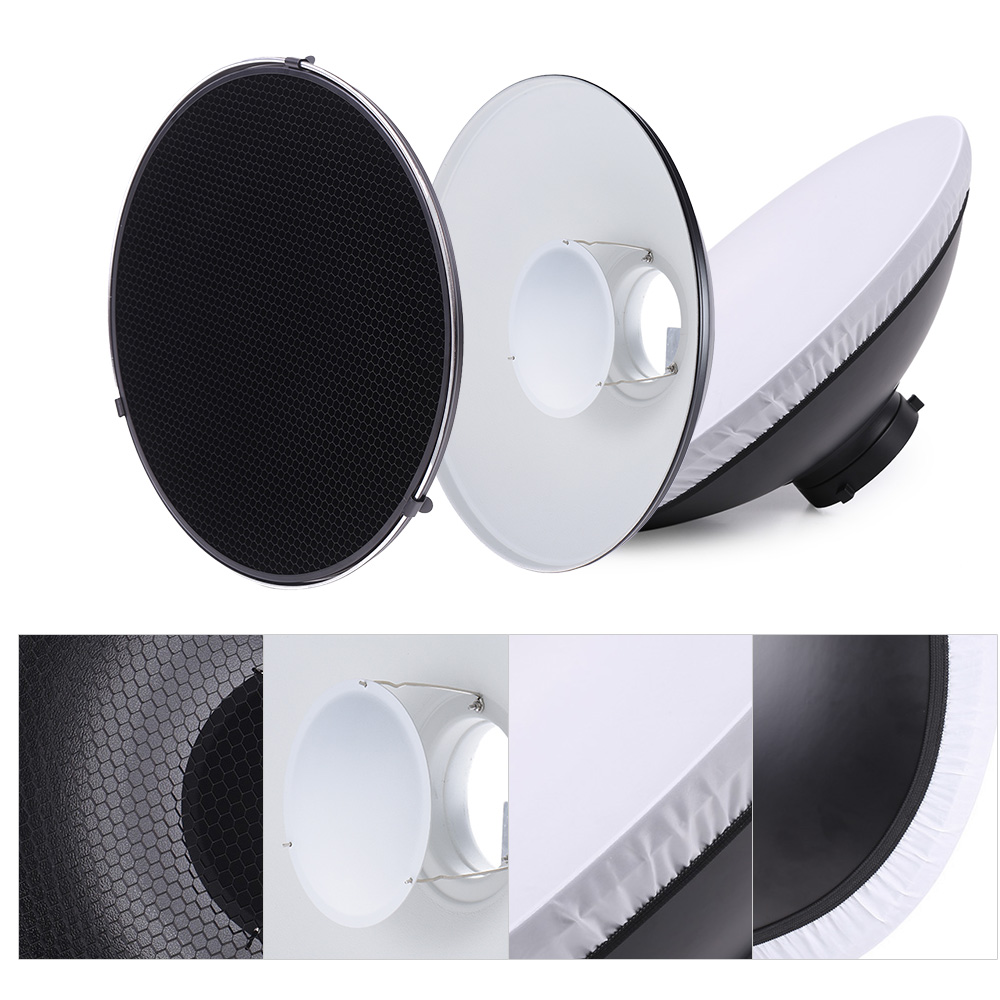 Studio Photography Light 41cm 16 Speedlite Strobe Lighting Diffuser Lampshade Bowens Mount with Reflector Honeycomb Soft