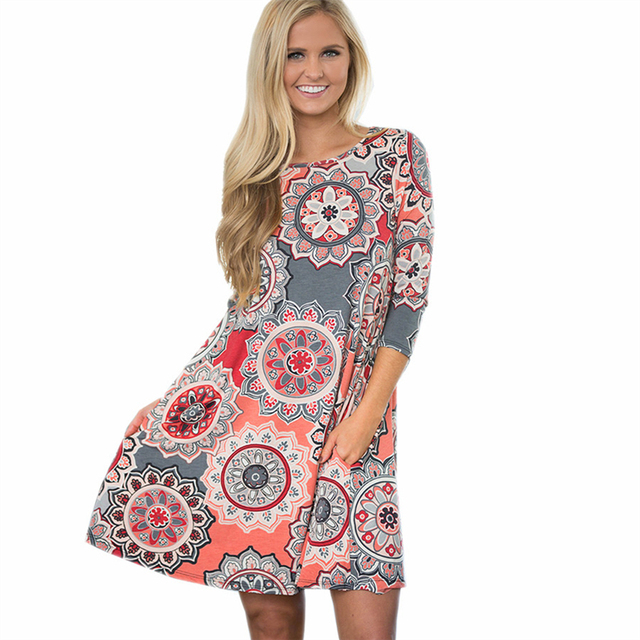 2018 Robe D été Femmes Boho Floral Robe Vintage Lâche Mode Mini Robe