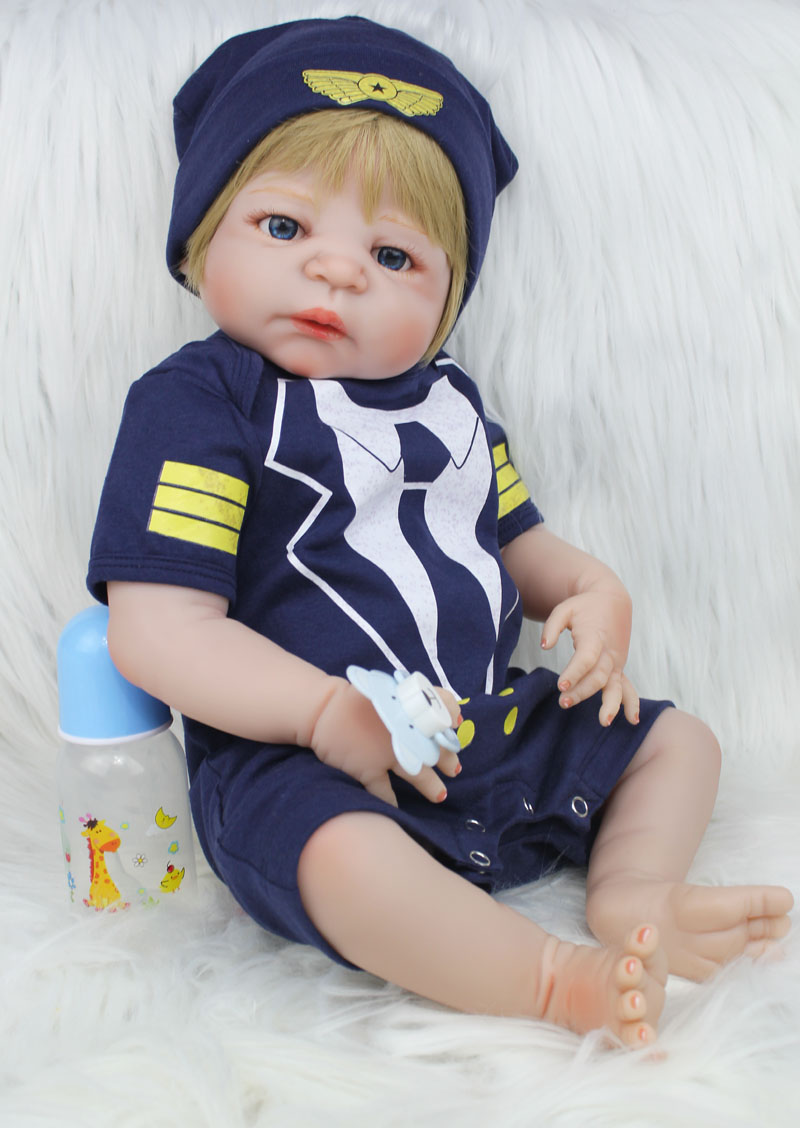 55cm Full Body Silicone Reborn Baby Doll Toy 22inch Handsome Newborn Bebe Boy Babies Doll Birthday Present Gift Child Bathe Toy