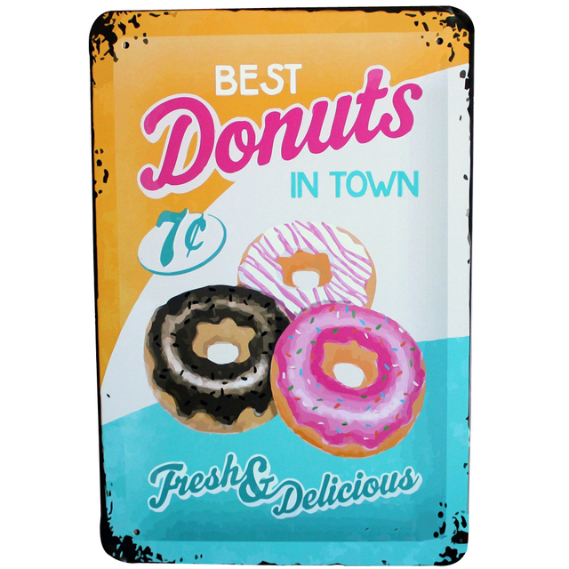 BEST DONUTS Metal Plague Retro Painting Wall Decor and