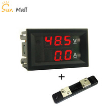 DC 100V 50A Red-Red Mini 0.28inch  LED Digital Voltmeter Ammeter Volt Ampere Meter Amperemeter Voltage Indicator Tester new mini 0 36 inch dc 0 100v 3 bits digital red led display panel voltage meter voltmeter tester 39%off
