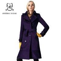 Frauen winter jacken kaschmir mantel Lila Sexy wintermäntel hochwertige dünne wolle manteau femme lange frauen kaschmir mantel