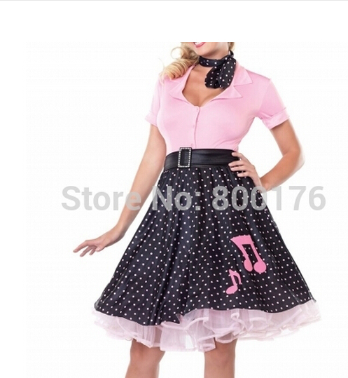 Splendida's Poodle Rockabilly Retro Swing Grasso Fancy Dress Costume più il formato s-6xl
