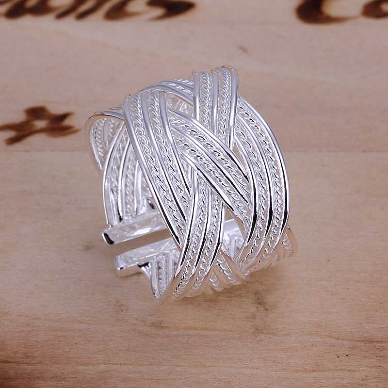 Wholesale 925 jewelry silver plated ring engagement fashion jewelry ring X cross twist  Hand weave net Web Ring-Opened