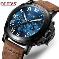 OLEVS Luxury Sport Quartz Watches For Men 44mm Luminous Dial Brown Leather Strap Watchband Date Clock