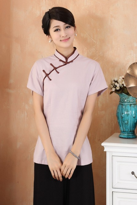 e7700e208ee Purple Chinese Fashion Women s clothing Linen Blouses Shirt tops Solid Plus  Size S M L XL XXL XXXL 4XL 2378-2