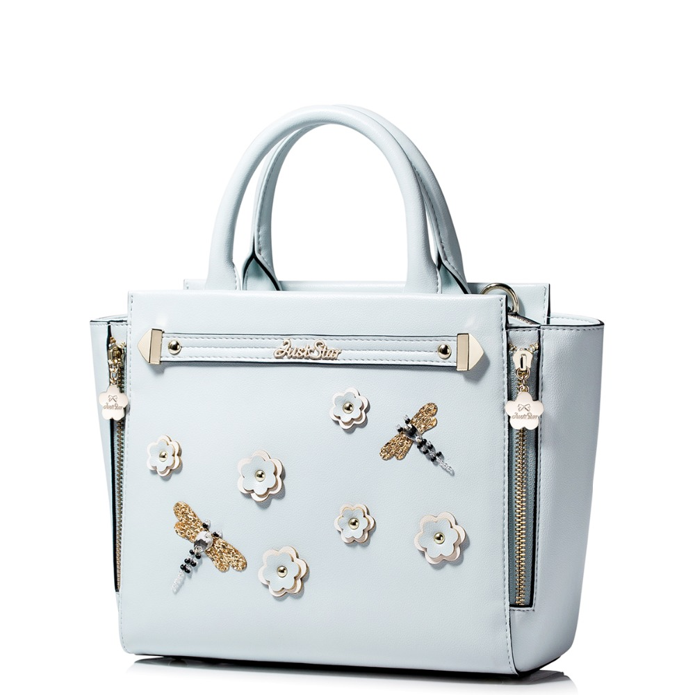 Women S Solid Flower Dragonfly Pattern Leather Convertible Tze Tote Handbag Shoulder Crossbody Purse Bag In Top Handle Bags From Luggage On