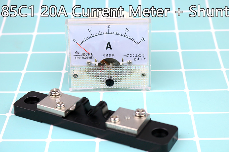 Ammeter Gauge DC 0-20A 85C1 HQ Analog Panel AMP Current Meter + Shunt