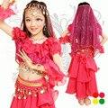 Дети Мода Танец Живота Костюм детский Индии Стиль Стразы Блестка Кисточка Танцевальные Костюмы Танец Наряд с Мантилья