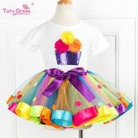 2017 New Arrive Summer Girls Clothing Sets Cartoon Flower T Shirts Tutu Skirt Dress 2Pcs Girls
