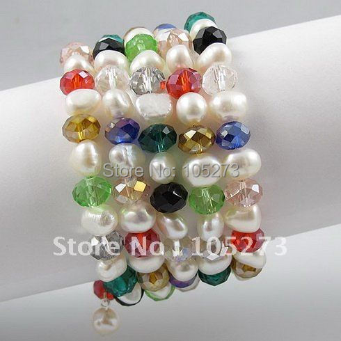 Мода жемчужный браслет АА 7-8 мм белый натуральный пресноводный жемчуг барокко отстегиваться, Разноцветные кристаллы 5 рядов A2595
