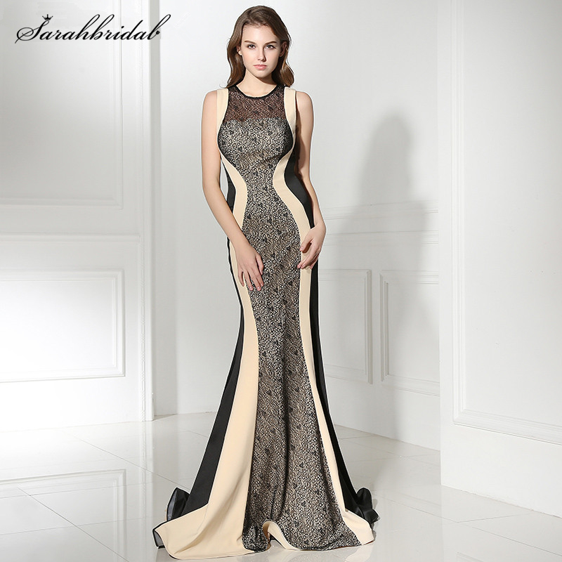 Sexy Long Evening Dresses Mermaid jewel Zipper Floor Length Sleeveless Luxurious Celebrity Dresses Robe De Soiree