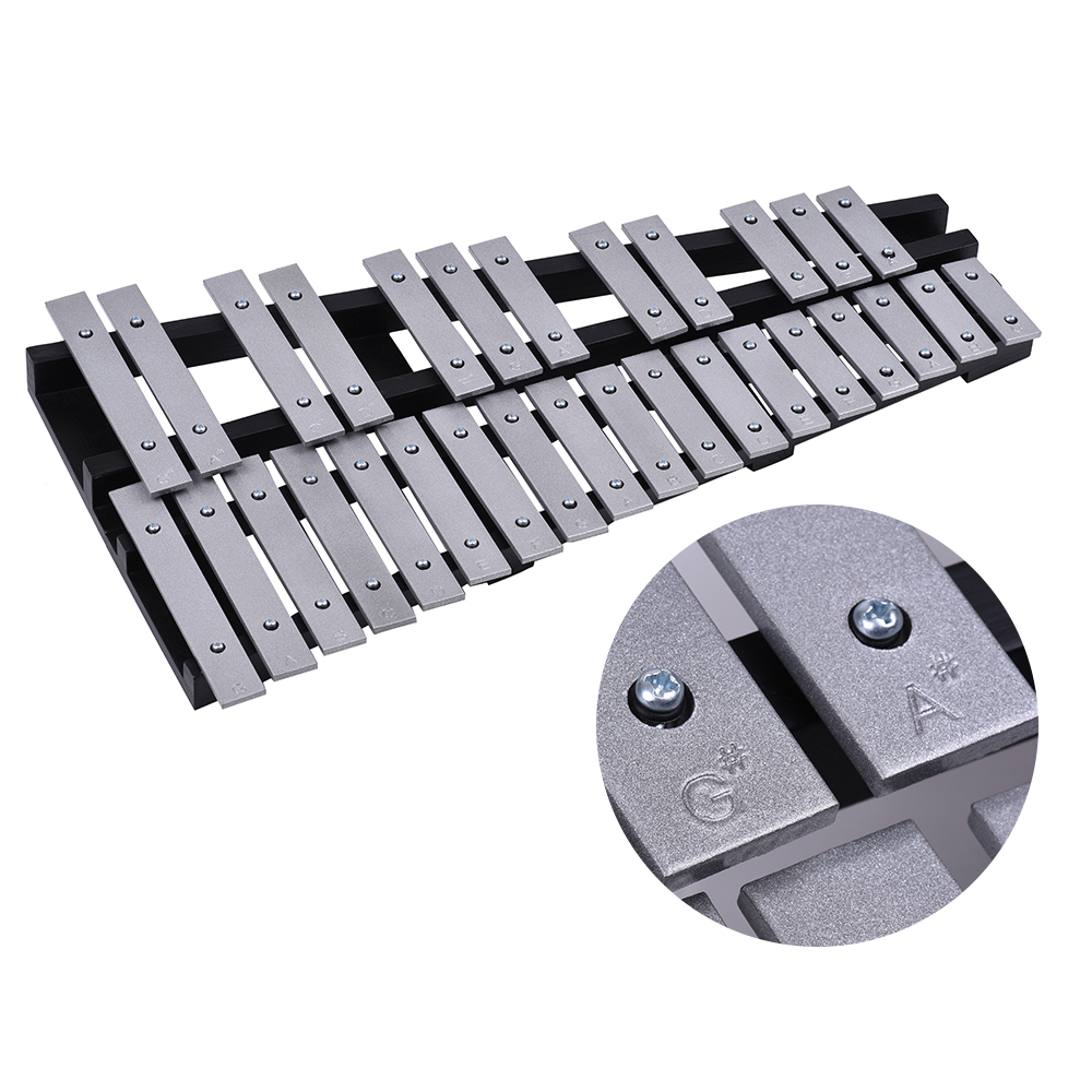 Ammoon Foldable 30 Note Glockenspiel Xylophone Wooden Frame Aluminum Bars Musical Instrument Gift with Carrying Bag