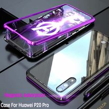 For Huawei P20 Pro Samsung S8 S9 S10+Plus iPhone X Magnetic Adsorption CNC Aluminum Metal Bumper Transparent Tempered Glass Case(China)
