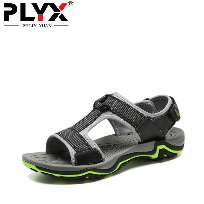 PHLIY XUAN 2018 Summer Mens Sandals Shoes Genuine Leather Men Footwear Sandalias Plus Size 38-45
