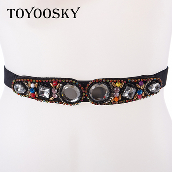 2018  Fashion Women Belt For Canvas Ethnic Style of High Quality Bead Decoration Casual Snap Fastener TOYOOSKY