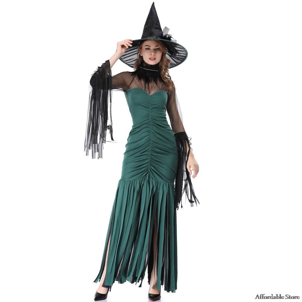 2018 New Halloween Green Tassel Witch Costumes Witch Stage Costumes Night Club Costumes dress clothes