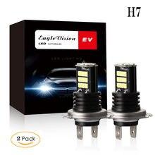 Luz de nevoeiro do carro h7 3030 24 smd led rgb farol do carro nevoeiro lâmpada do bulbo 24w 6000k 2 pçs 12v 24w 6000k a25