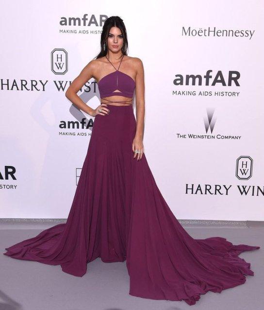 Kendall Jenner Short Dress: Kendall Jenner Grape Two Pieces Short Column Spaghetti